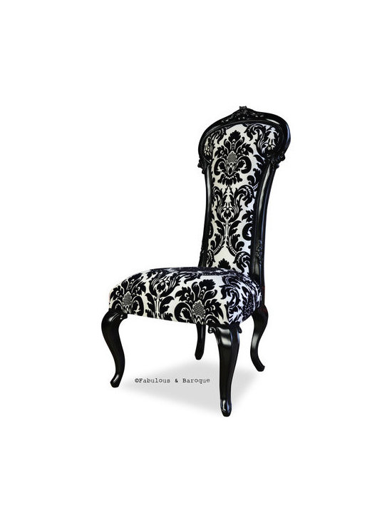 Dauphine Chair - Black Damask - This breathtaking high back chair is finished in wonderful black lacquer and upholstered in a unique fabric combination of white cotton twill and stunning raised three dimensional black velvet accents. With it's short cabriole style legs and the thin, narrow back; this chair will make a statement in any room. This item has no distressing.