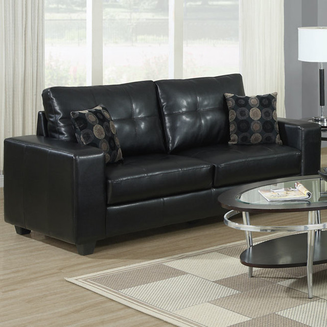 Black Bonded Leather Sofa With 2 Accent Pillows