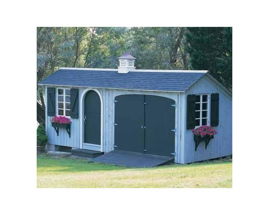 "8' x 20' Tool and Storage Building - One of our most popular models, The garage side is ideal for storing your tractor. The other side for everything else. This 8' x 20' building comes with Board and Batten siding, a 3' Arched Dutch door with night lock and latch, 2 double casement windows with shutters and window boxes, one 8' double door with ramp, one 3' step, center partition to peak, 20"" Brittany cupola. Special body stain and white trim."