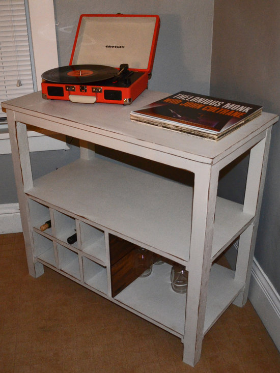 Reclaimed Wood Wine Stand and Record Holder - Reclaimed Wood Wine Stand and Record Holder