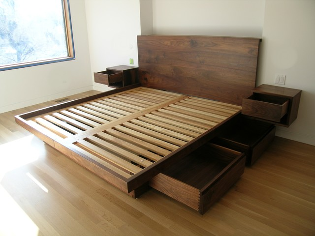 Platform bed with drawers contemporary beds for King size bed designs