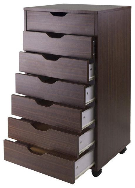 Winsome Wood Halifax Cabinet for Closet/Office - 7 Drawers - Antique Walnut - Contemporary ...