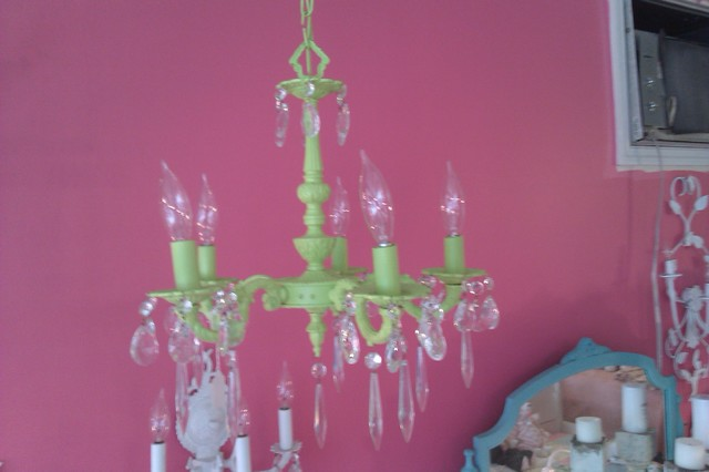 petite antique crystal chandelier in gloss lime green vintage bronze spain eclectic-chandeliers