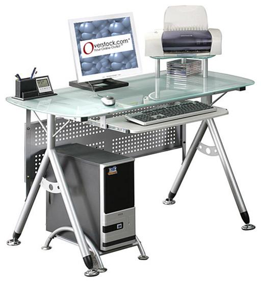 Ergonomic Tempered Glass-top Computer Desk