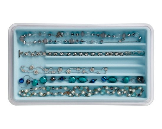 Neatnix - Jewelry Stax, Necklace, Light Blue - Our unique, practical jewelry organizer offers a unique stacking and sliding feature, allowing you to utilize in-drawer or on-counter space to its fullest. Stacking and sliding trays are made of clear plastic and liners are made of flocked plastic with a velvety feel. Mix and match as your jewelry collection requires.