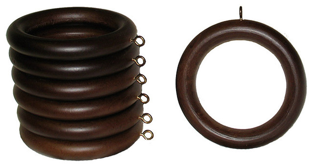 Wood 2-inch English Walnut Curtain Rings (Set of 7) contemporary-window-treatment-accessories