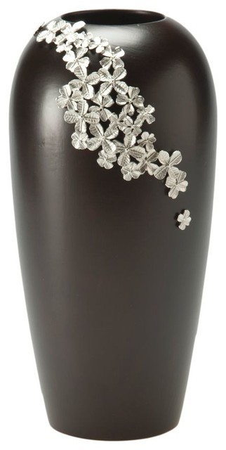 Mango Wood Vase with Flower Ornament in Pewter contemporary-vases