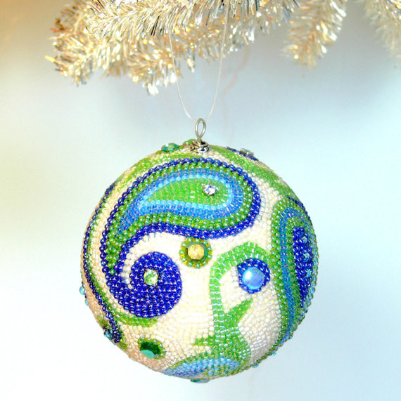 Beaded Christmas Ball, Paisley by Meredith Dada eclectic holiday decorations