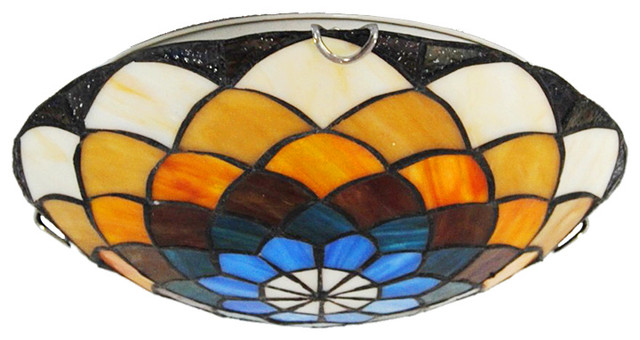 3 light stained glass tiffany flush mount ceiling lamp. Black Bedroom Furniture Sets. Home Design Ideas
