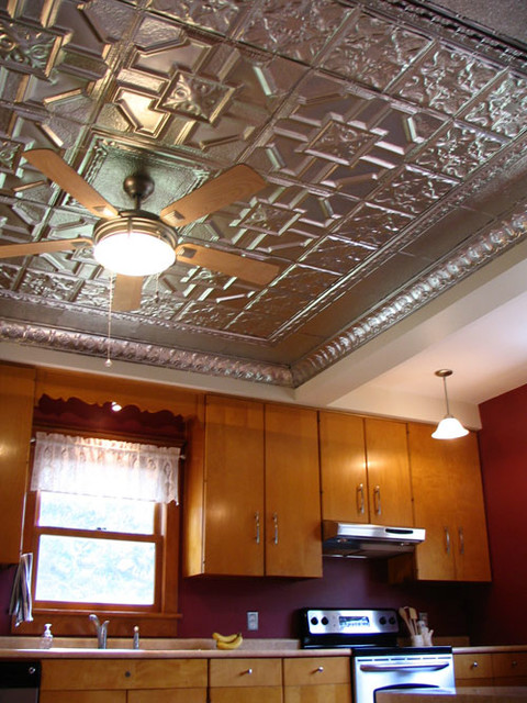 Kitchen ceilings with tin farmhouse kitchen tampa by american tin ceiling company - American tin tiles wallpaper ...