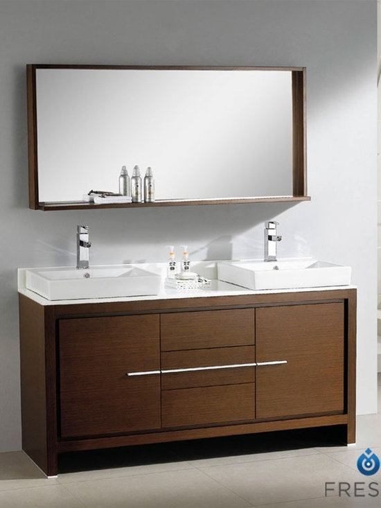 """Fresca Allier 60"""" Bathroom Vanity Wenge Dark Brown Finish - Fresca Allier 60"""" Modern Double Sink Bathroom Vanity Wenge Dark Brown Finish is the perfect model for the newlywed. It offers his and hers separate sinks, along with a unique square design. Plenty of storage space is available with an additional shelf on the matching mirror. Spectacular designs are available in Fresca vanities Collection, with choices between glasses or marble top wall mounted vanity, clear glass double bowl vanity, single sink bathroom vanity with frosted glass, and some more. Designed Fresca vanity stands cradle and setting your glass sink while adding an element of artful attention."""