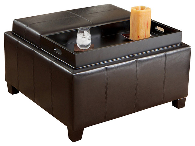 Plymouth Espresso Leather Tray Top Storage Ottoman traditional-footstools-and-ottomans