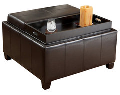 Plymouth Espresso Leather Tray Top Storage Ottoman traditional-ottomans-and-cubes