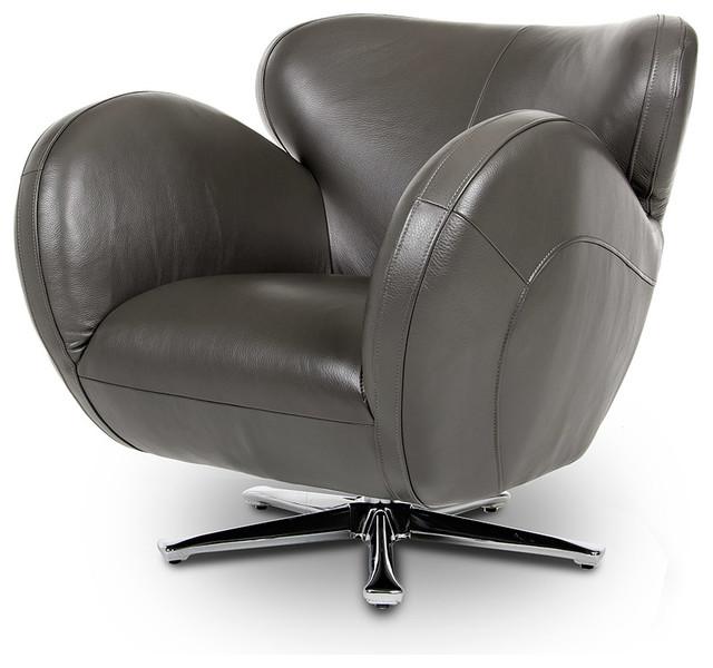 Covina modern grey leather swivel lounge chair modern for Modern swivel accent chair