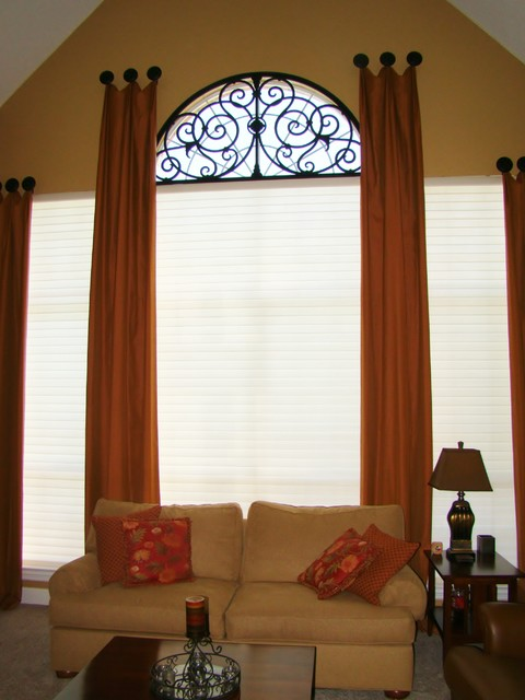 Custom Drapery & Tableaux Faux Iron Flower Mound Texas eclectic window treatments