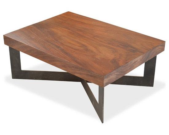 "Rotsen Furniture - Solid Wood Tamburil Slab Coffee Table - Metal Base - Dimensions: 35""L x 26""D x 14""H"