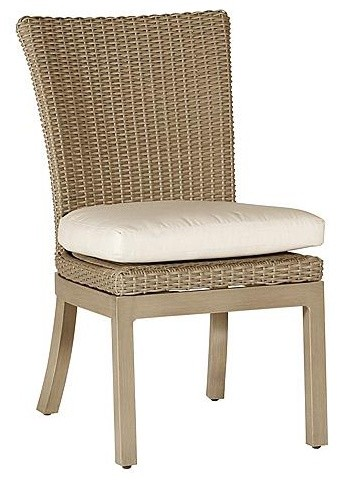 Orangeic Outdoor Side Chair with Cushion - Frontgate, Patio Furniture traditional-patio-furniture-and-outdoor-furniture