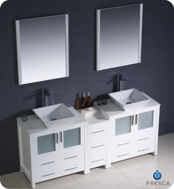 """72"""" Torino Wide Double Vessel Sink Vanity - Light Oak (FVN62-301230LO-VSL) modern"""