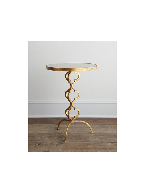 """Regina-Andrew Design - Regina-Andrew Design """"Lazear"""" Side Table - A mix of vintage style and modern flair, this sleek, sophisticated side table features shapely quatrefoil detailing for a look that is both contemporary and transitional. Made of metal and mirrored glass. Gold-leaf finish. 17""""Dia. x 24""""T. Imported....."""