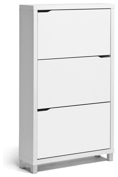 Simms Modern Shoe Cabinet, White - Modern - Shoe Storage - other metro - by Baxton Studio