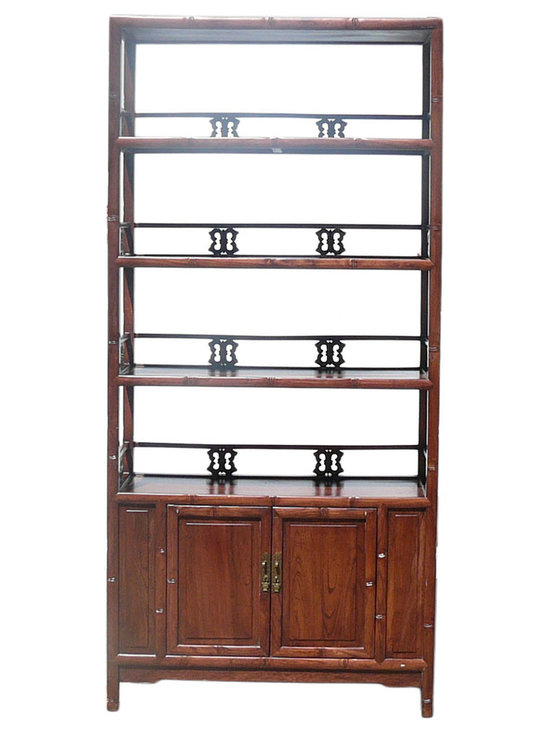 Golden Lotus - Chinese Brown Bamboo Carving Wood Bookcase Cabinet - This is a traditional Chinese bookcase or display cabinet with carving bamboo motif as an accent.