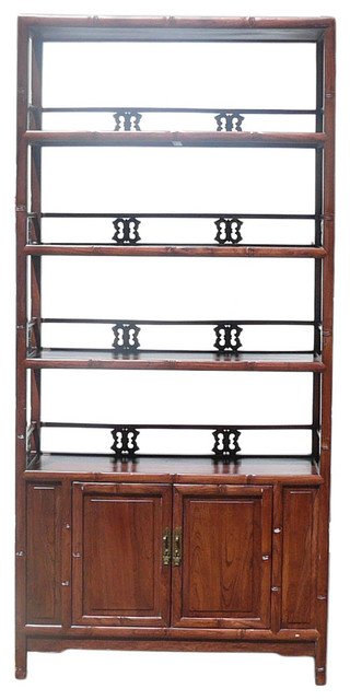 Chinese Brown Bamboo Carving Wood Bookcase Cabinet - Asian ...