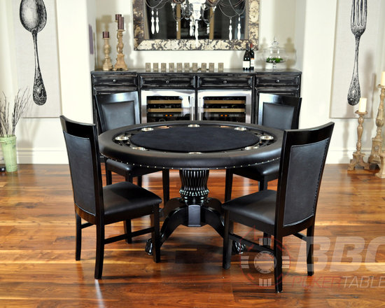 The Nighthawk - The Nighthawk poker table has been updated with our newly designed column pedestal leg and upgraded table surface materials. It was great before, now it's just ridiculous. Shown without dining top, with matching dining chairs, sold separately. Price starts at $849.