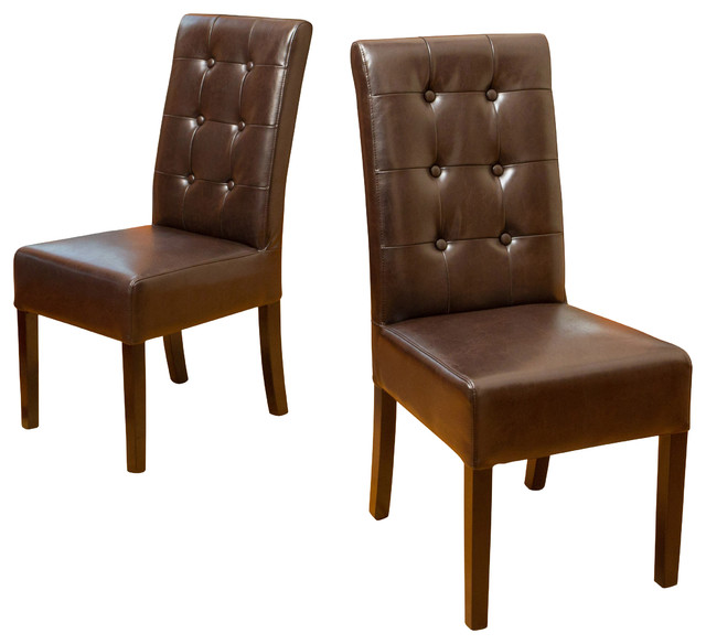 Harrison tufted leather dining chairs set of 2 brown for Tufted leather dining room chairs