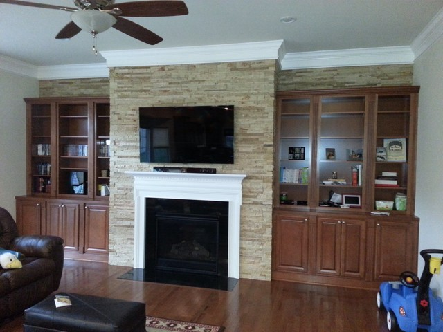 ... wrapped in Stacked Stone and trimmed with classic white crown molding