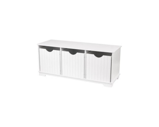 KidKraft Nantucket Storage Bench - I can think of a ton of ways to utilize this simple, clean storage bench. It could be great in an entryway as a catchall for shoes, umbrellas, hats and mittens; in the kids' room as both seating and a place to store toys; or as a pet station as a convenient place to hide bags of dog food, cat food and litter. The list goes on.