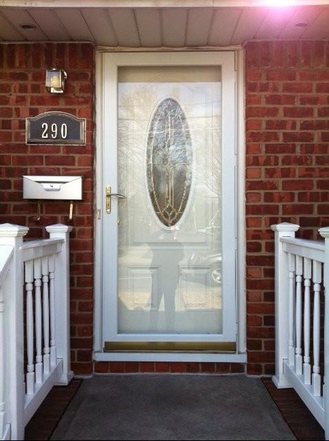 Front entrance door with full view storm door for Full view exterior door
