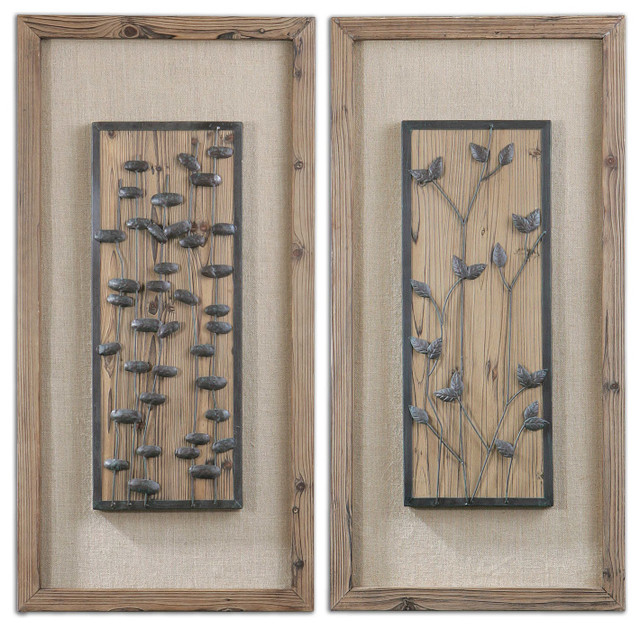 Chinook wall art panel set bronze rustic wood and burlap rustic artwork - Wooden panel art ...