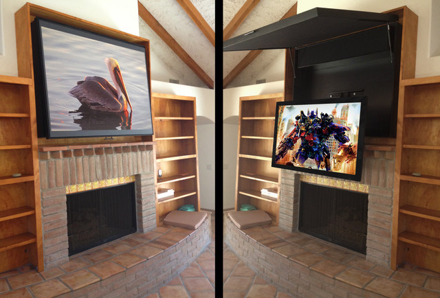 Hiding a Flat Panel TV Above a Fireplace - Contemporary - orange county - by TVCoverUps