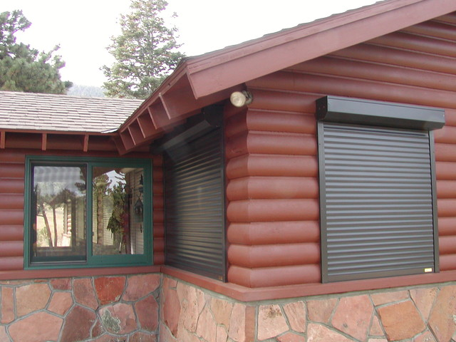 estes park cabin exterior shutters traditional denver by roberts drapery cleaners
