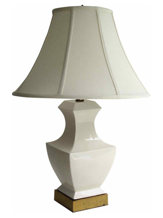 White Gorgeous Glaze Lamp - Asian Inspired square ceramic lamp with patina brass base.