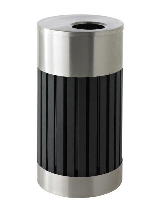 Commercial Zone - Commercial Zone Riverview 1 Waste Container 25 Gallon Trash Can - Stainless Stee - Shop for Trash Receptacles from Hayneedle.com! Designed to impress the Commercial Zone Riverview 1 Waste Container 25 Gallon Trash Can - Stainless Steel combines the strength of steel rails and the beauty of stainless steel for an upscale contemporary style. The waste container base is constructed of heavy-gauge fire-safe vertical steel rails and 304-grade stainless steel for extreme durability. It includes a 25-gallon powder-coated black galvanized liner with handles and grab bag holder for a clean appearance. Its brushed stainless steel lid fits snug and features a metal chain inside for additional security. Lid and trim rings are constructed from heavy-gauge 304-grade stainless steel.About Commercial ZoneSince 1968 DCI Marketing Commercial Zone has been offering a complete line of image-enhancing products designed for commercial use. Commercial Zone recycling centers trash cans and cigarette dispensers are all designed to be aesthetically pleasing. The company offers a large selection of styles materials and colors. Their products are durable easy to maintain and are made with recycled materials whenever possible. All Commercial Zone products are designed to meet the requirements of the Americans with Disability Act.