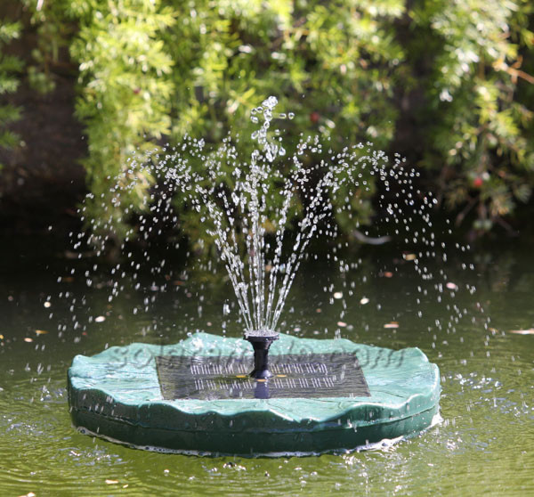 Floating lily solar pond fountain with battery pack and Pond with fountain