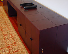 Contemporary Leather Wrapped Hutch  furniture