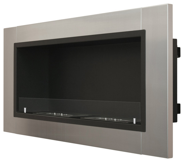 Ignis Lata - Recessed Ventless Ethanol Fireplace with Glass indoor-fireplaces