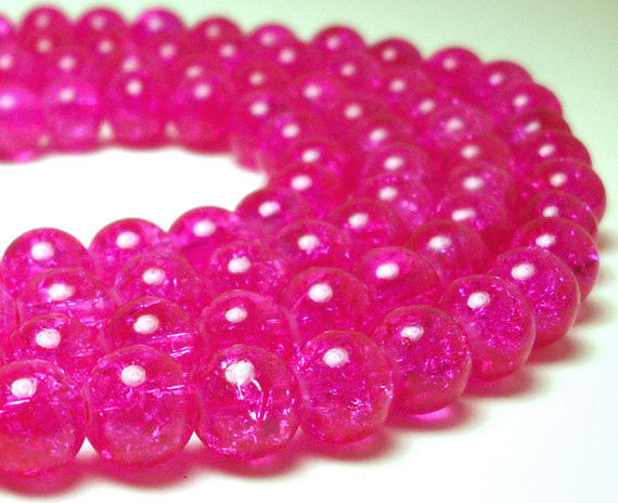 Hot Pink Glass Crackle Beads by Olivia Madison Company contemporary-accessories-and-decor