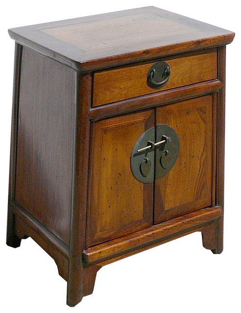 Nightstand End Table Chinese Ming Style Brown Moon Face Cabinet - Asian - Side Tables And End ...