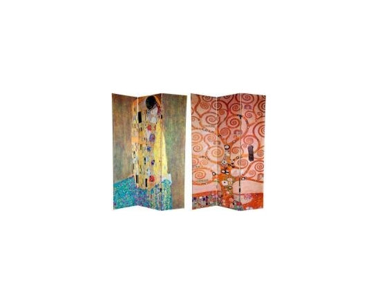 Functional Art/Photography Printed on a 6ft Folding Screen - 6ft tall three panel folding screen divider of Gustav Klimt's famous painting of the Kiss