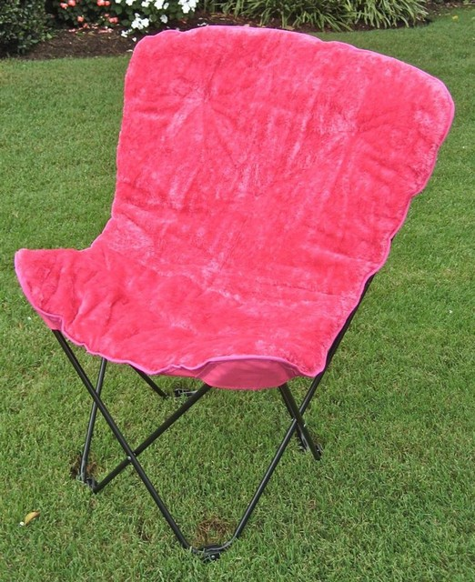 Folding Faux Fur Butterfly Chair in Pink Contemporary Outdoor Lounge Chai