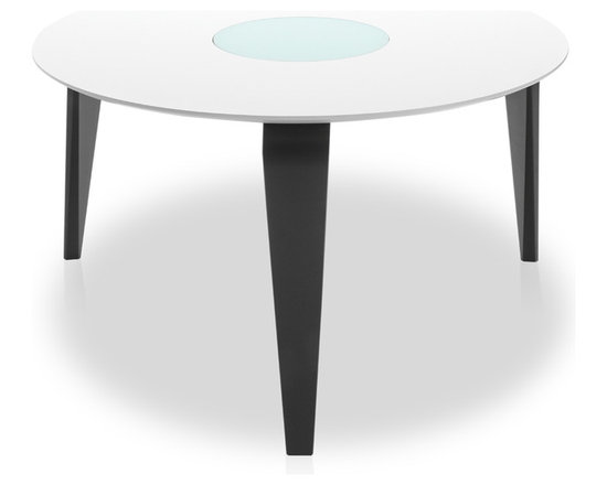 Bryght - Neo Lazy Susan White Ebony Dining Table - The Neo dining table is a decorating enthusiast's delight. Its unique three legged design along clean, eclectic and modern lines make it an elegant focal point in any dining area. The Neo Lazy Susan dining table comes with 3 interchangeable wooden tops and legs allowing you to create striking contrasts.