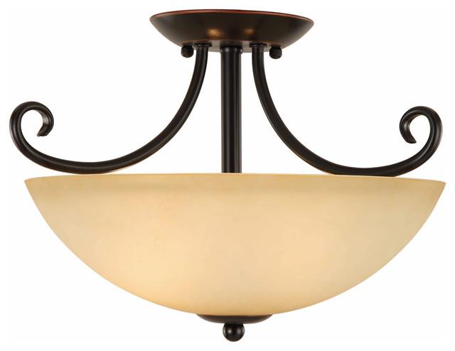 Oil Rubbed Bronze Semi Flush Mount Ceiling Light Fixture Traditional Flus