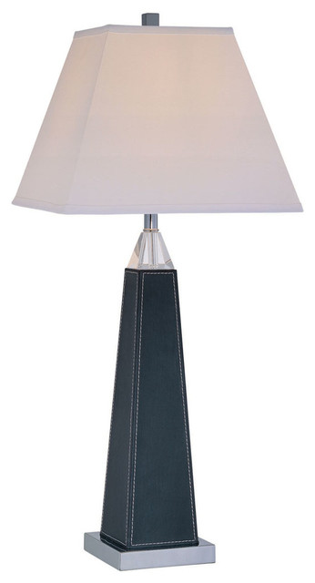 Table Lamp, Chrome/Black Leather/White Fabric Shade, A 100W traditional-table-lamps