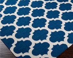 Ironwork Trellis Dhurrie Rug, Cobalt Blue and Ivory mediterranean-rugs