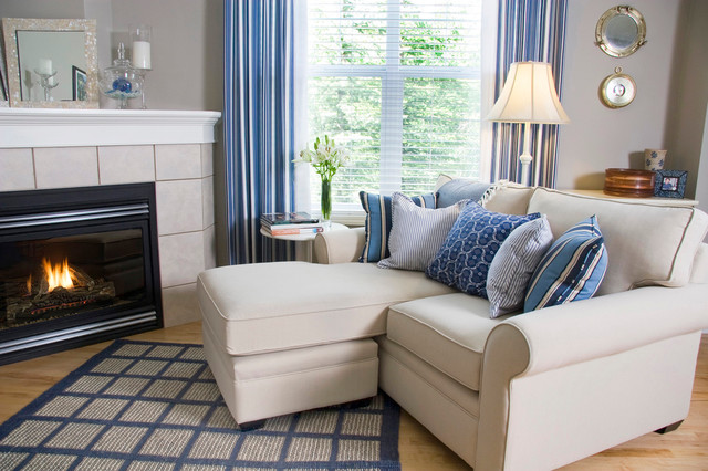 Cottage Family Rooms, Blue and White living-room