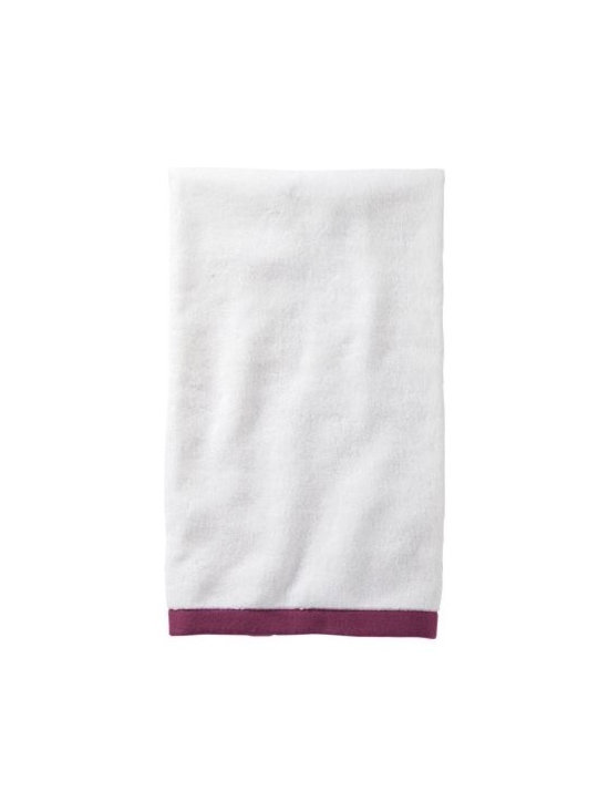 Serena & Lily - Berry Border Frame Hand Towel - Woven in Portugal from supremely soft cotton, these towels are lofty, absorbent, quick to dry, and won &apos t fade, fray or wear out. We love how the substantial stripe pops against the pure white cotton terry. (The washcloth was kept simple&#151a perfect square of all white.)