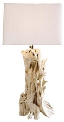 Bodega Distressed White Driftwood Lamp by Arteriors Home eclectic table lamps